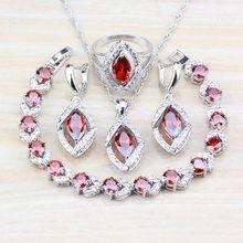 bf47c68f434e Plata de Ley 925 mujeres bonitas boda 4 piezas conjuntos de joyas anillo  rojo granate tamaño 6 7 8  9 10 pulsera de 18 CM de lon.