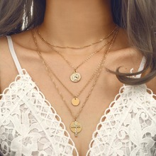 Gold Chain Round Coin Pendants for Women Layered Necklaces Jewelry Jesus Cross Necklace Chockers Fashion Womens 2019