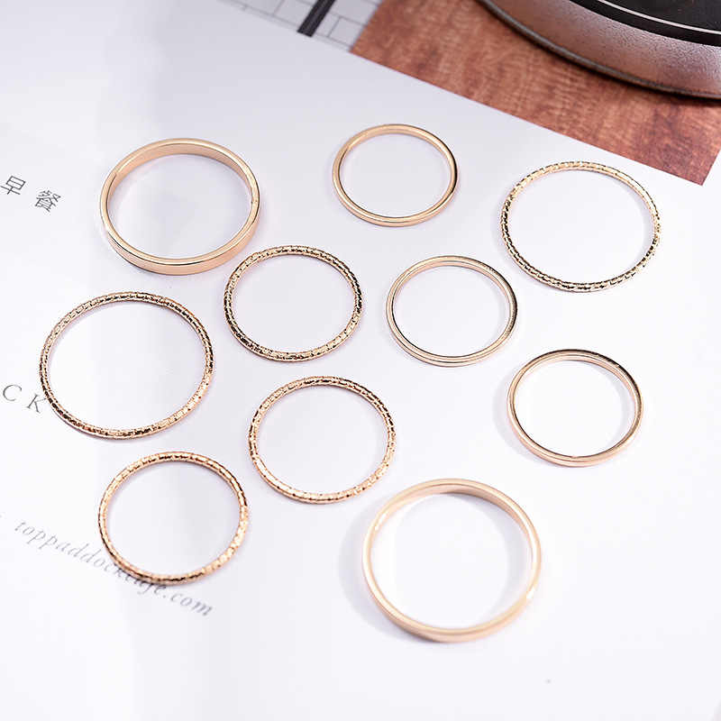 1 Set 10 PCS New Fashion Jewelry Lightning Waves Finger Ring Set Gift For Women Girl