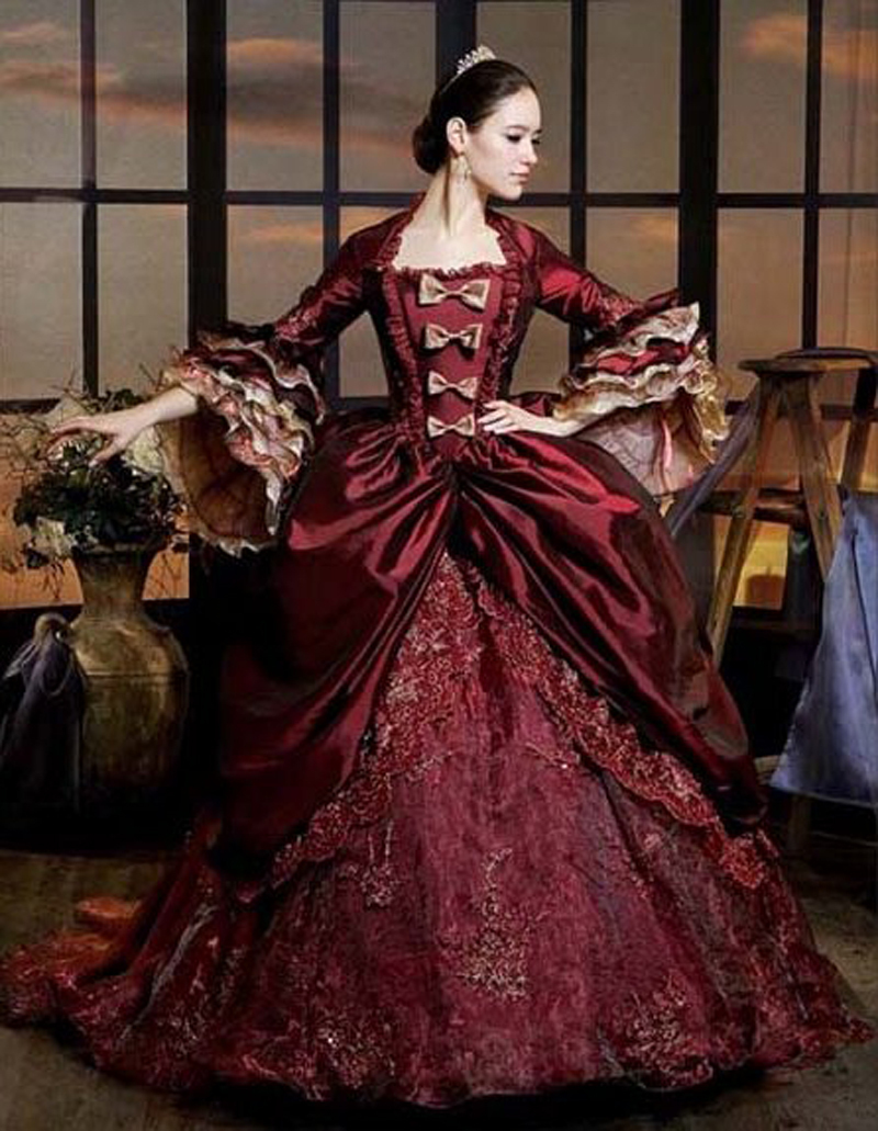 Купить с кэшбэком Top Sale  Georgian BURGUNDY Victorian Period Costume Vintage Long Ball Gown Pertty Long Civil War Gown