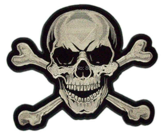 5 Xl Large Skull Crossbones Rockabilly Embroidered Back Patch