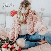 Ordifree 2018 Autumn Winter Women Knitted Cardigan Casual Christmas Jumper Pink White Thick Warm Female Sweater Cardigan