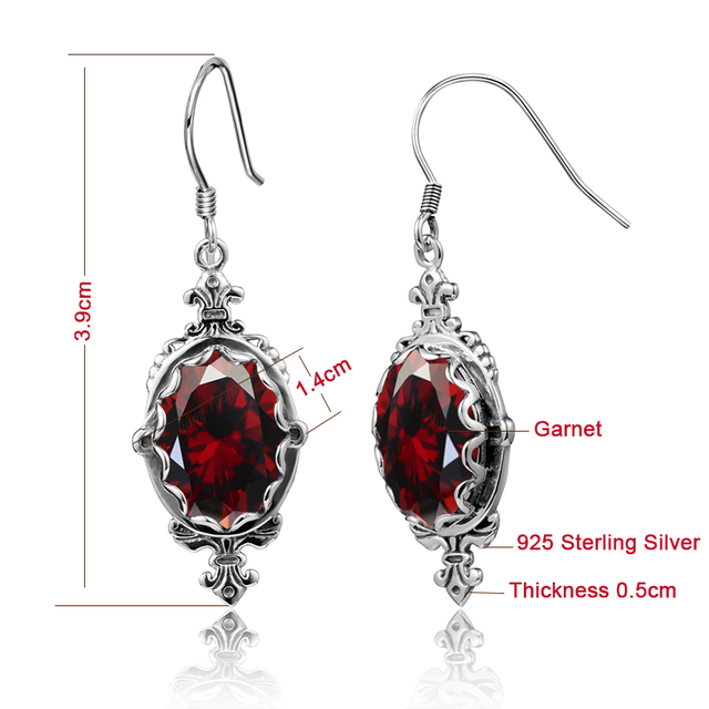 Trendy Indian 925 Sterling Silver Jewelry Sparkling Red Stone Created Garnet Drop Earrings For Women Wedding Fashion Gifts