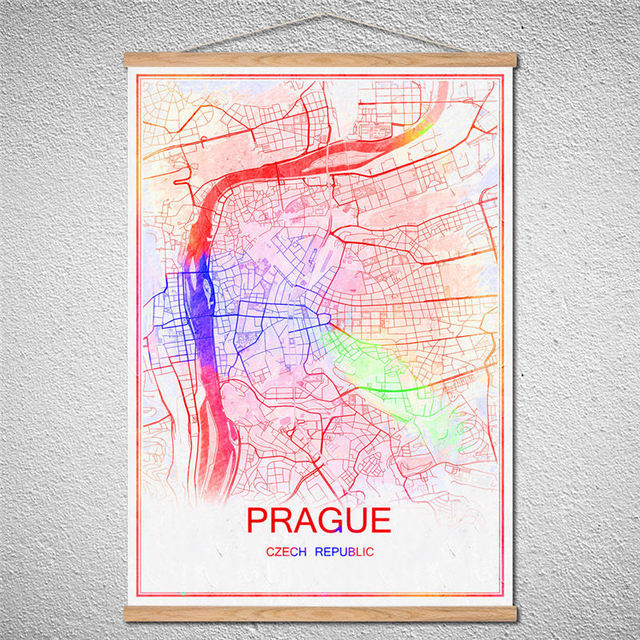 Customized Pattern PRAGUE World Map Oil Painting Abstract Print - Pink world map poster