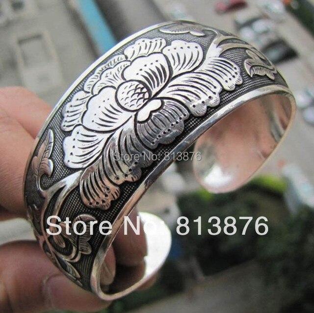Peônia escultura do Vintage tibetano prata mulheres homens aberto ajustável pulseira