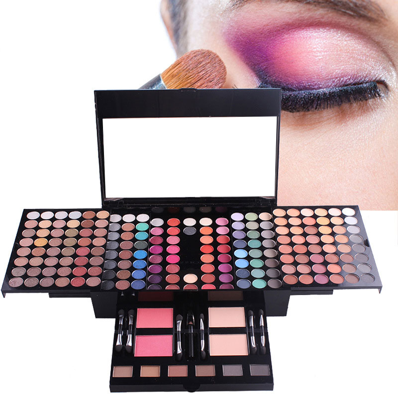 180 Colors Eyeshadow Palette Silky Powder Professional Make up Palette Eye Shadow Set Cosmetic case makeup kit with brush mirror professional eye cosmetic case set eyeshadow concealer blush eyebrow powder palette girlfriend birthday gift makeup set