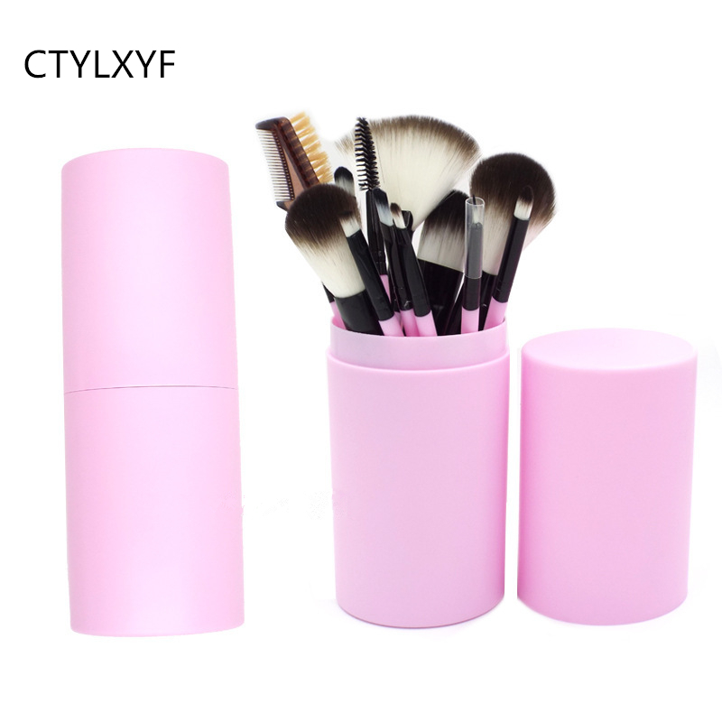 CTYLXYF Brand 12 Pcs Makeup Brushes Kit Studio Holder Tube Convenient Portable Plastic Cup Natural Hair Synthetic Duo Fiber dental kerr finishing polishing assorted kit occlubrush cup brushes 1set
