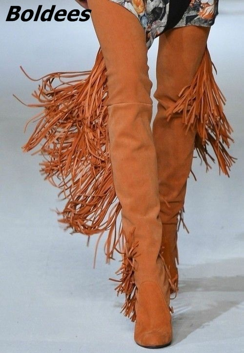 Designer Women Chic Brown Fringe Block Heels Thigh High Boots Cheap Round Toe Chunky Heel Tassel Fashion Long Boots women elegant dark green suede fringe block heels ankle boots comfortable chunky heel round toe back tassel short boots hot sell
