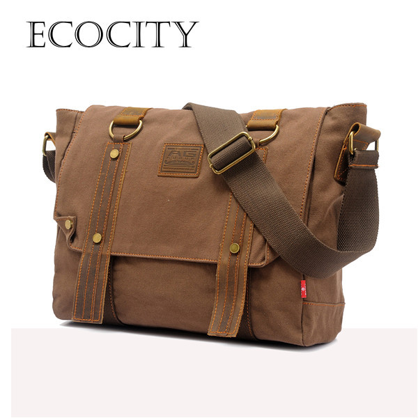 Men's Vintage Canvas Leather School Military Shoulder Bag fashion leisure messenger bag men Men's Crossbody Bags