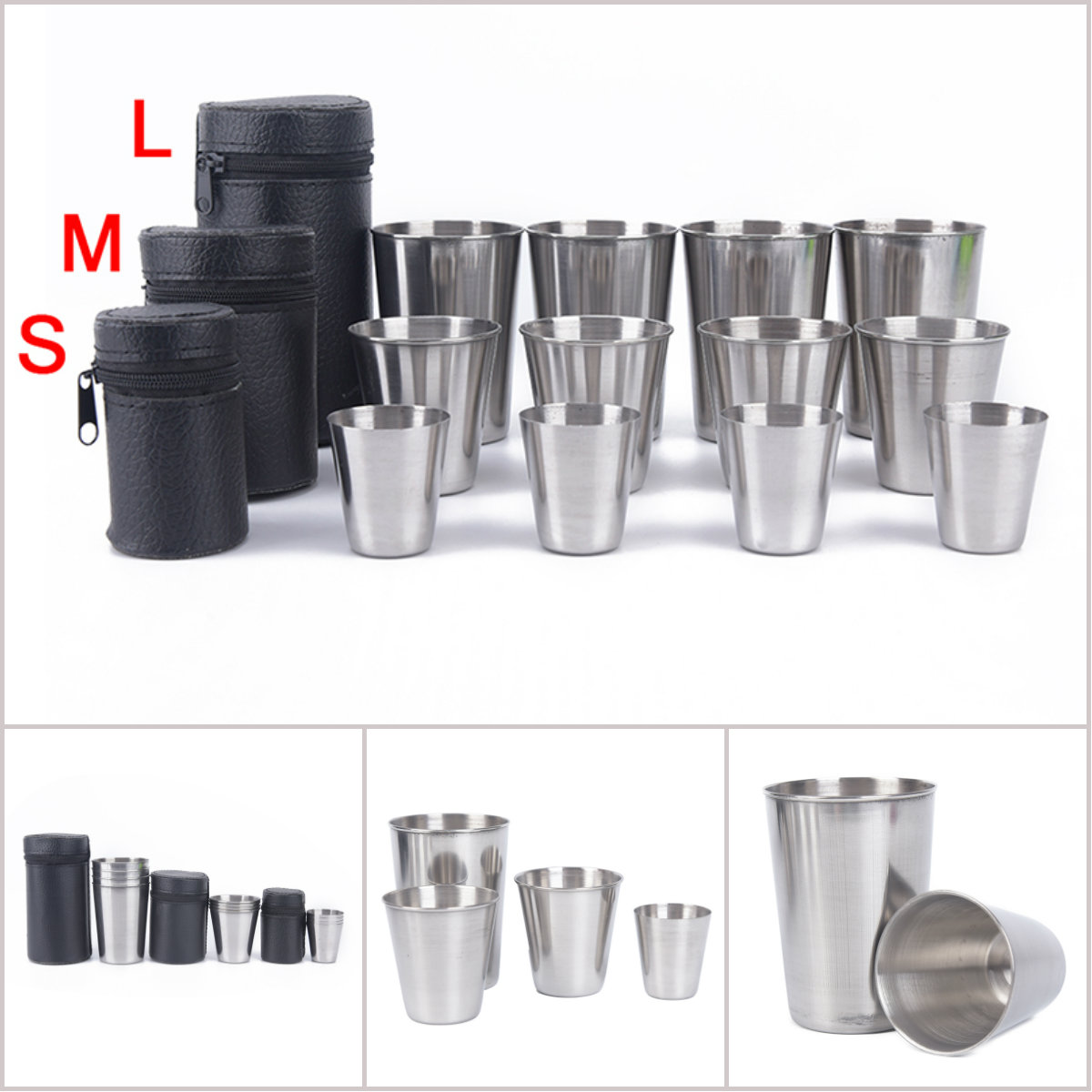 Camping Cup Mug Drinking Coffee Tea Beer With Case Ideal For Camping Holiday Picnic 1 Set Of 4 Stainless Steel Cover Mug Sports & Entertainment