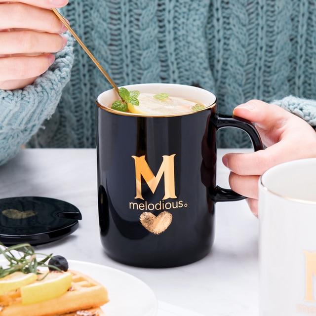 400ml Creative Gold Finger Printing Black Ceramic Coffee Mug 3