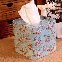 סגנון פסטורלי פורח נחמד פרחי מתכת פנים נייר מחזיק מפיות תיבת תיבת אחסון טרי פרח בית T1253