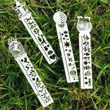 50pcs/lot Christmas Festival Favors Hollow Metal Style Ruler Bookmarks With Lanyard Party Prom Souvenirs HX423