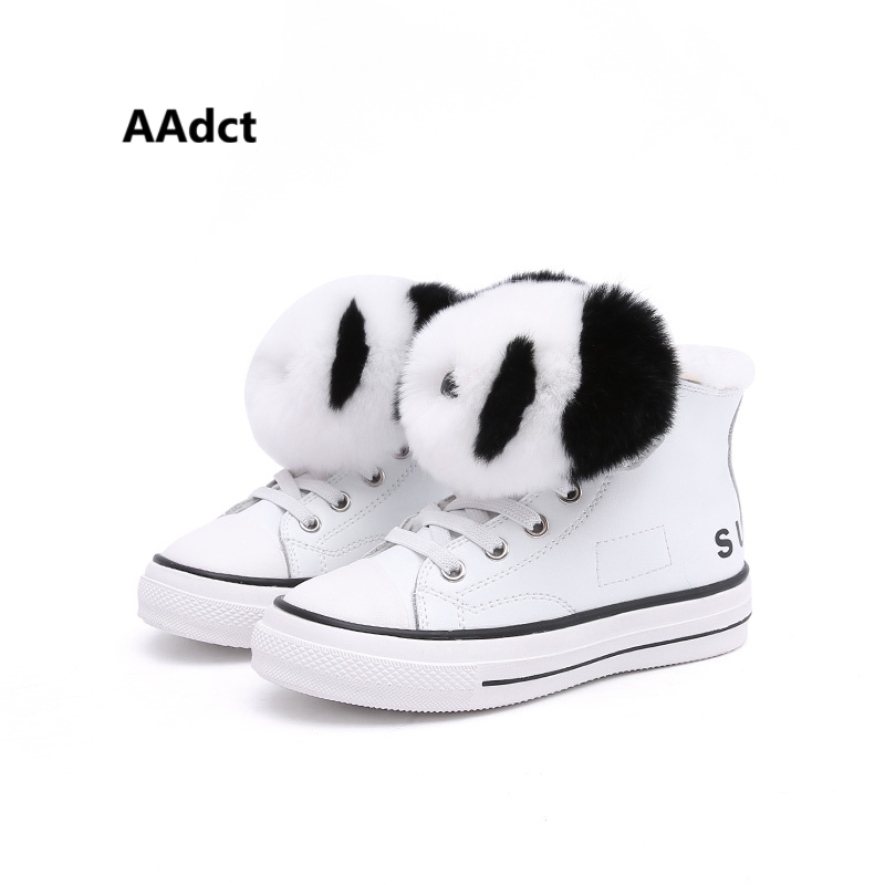AAdct 2017 Cartoon winter cotton fur warm girls shoes Brand High quality children shoes for boys kids shoes Removable decoration 30 degree russia winter warm baby shoes fashion waterproof children s shoes girls boys boots perfect for kids accessories