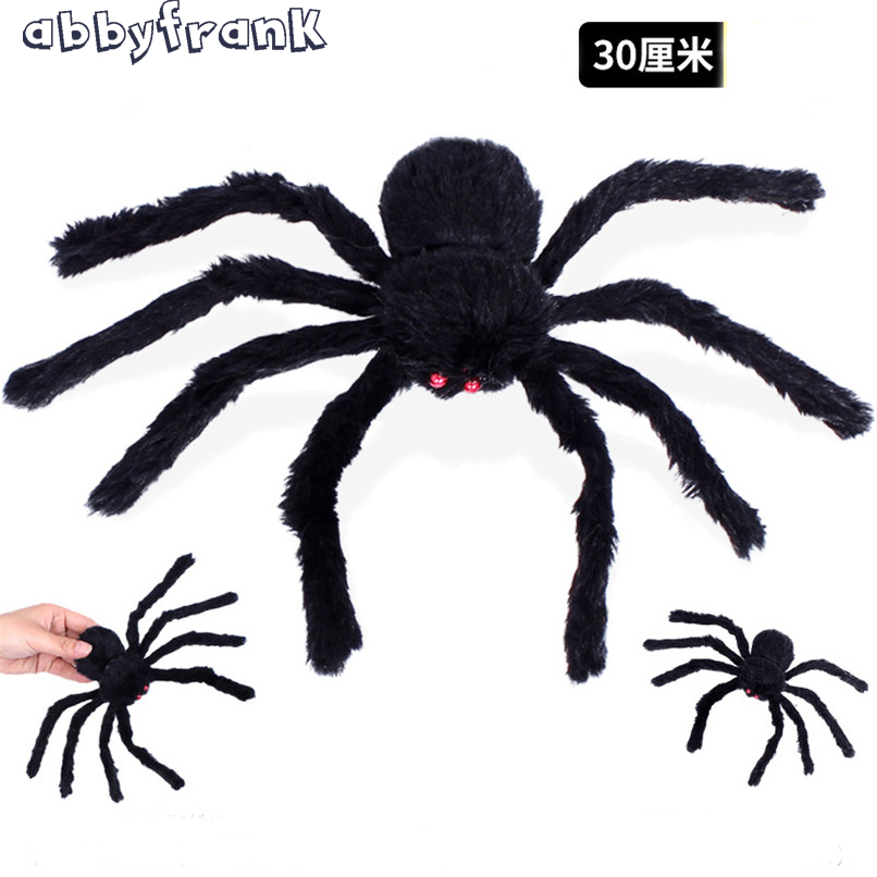 Abbyfrank 30cm Plush Spider Halloween Toys Prank Tricky Toys Gadgets Artificial Animal Toys Novelty Funny Gift For Halloween