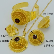 Ethiopian Jewelry sets Stone Pendant Necklace/Earring/Bangle/Ring  Gold Plated Africa Eritrea Habesha Bride Wedding #001517