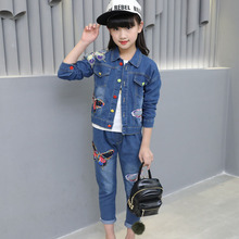 Children's clothing butterfly print 2019 new baby girl clothes denim set spring and autumn children's cowboy leisure jean suit все цены