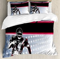 Duvet Cover Set , Baseball American Football Player Running in the Field with Stars Pattern, 4 Piece Bedding Set