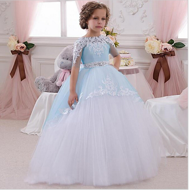 New Tutu Flower Girl Dress Ball Gown Crew Neck Ankle Length Bow Sash Short Sleeves Patchwork Long First Communion Dresses cute new long sleeves white ball gown flower girl dresses french lace beaded first communion dress with sequin bow and sash