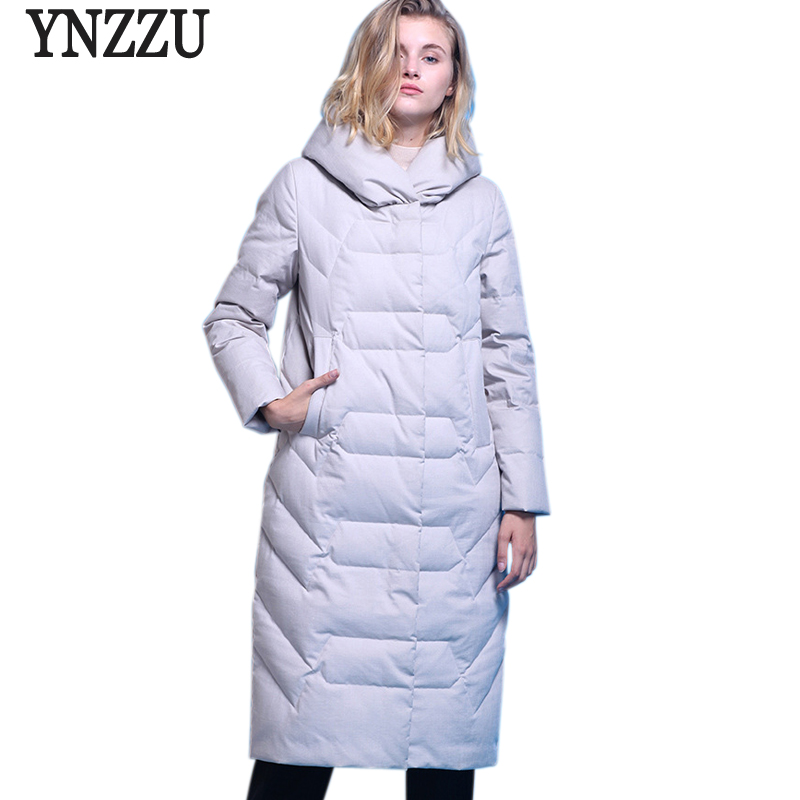 Brand Luxury 2018 Winter Women's   Down   Jacket Elegant Long 90% White Duck   Down     Coats   Thicken Warm Hood Jacket Women Clothes AO720