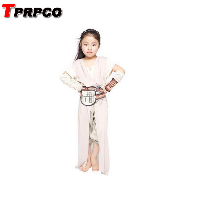 TPRPCO Child Classic Star Wars The Force Awakens Rey Fancy Dress Girls Movie Charater Carnival Cosplay Halloween Costume NL159