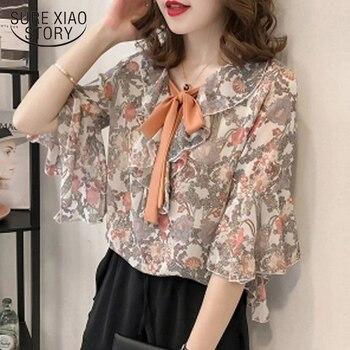여성 탑 blusas 2018 여름 새로운 상위 인쇄 쉬폰 여성 블라우스 셔츠 반소매 느슨한 플러스 사이즈 여성 의류 d730 30