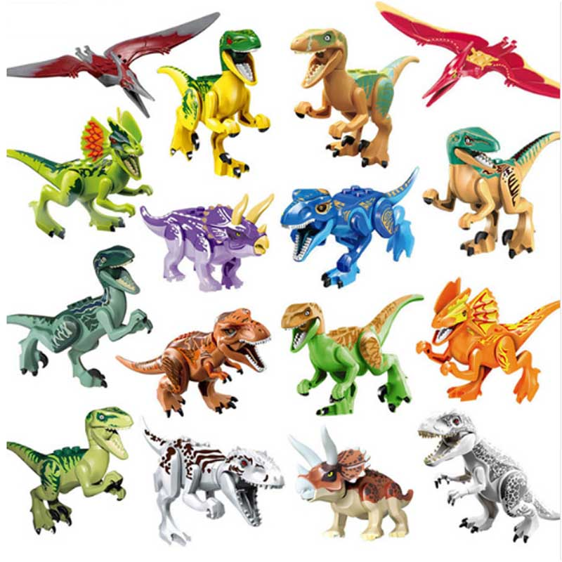 16pcs Jurassic Dinosaur Figure Animal Wild World Pterosauria T-Rex Building Block Toy compatible with legoings 6 8 16 24pcs set jurassic dinosaur world 2 figure building block bricks toy tyrannosaurus rex compatible with legoing dinosaur