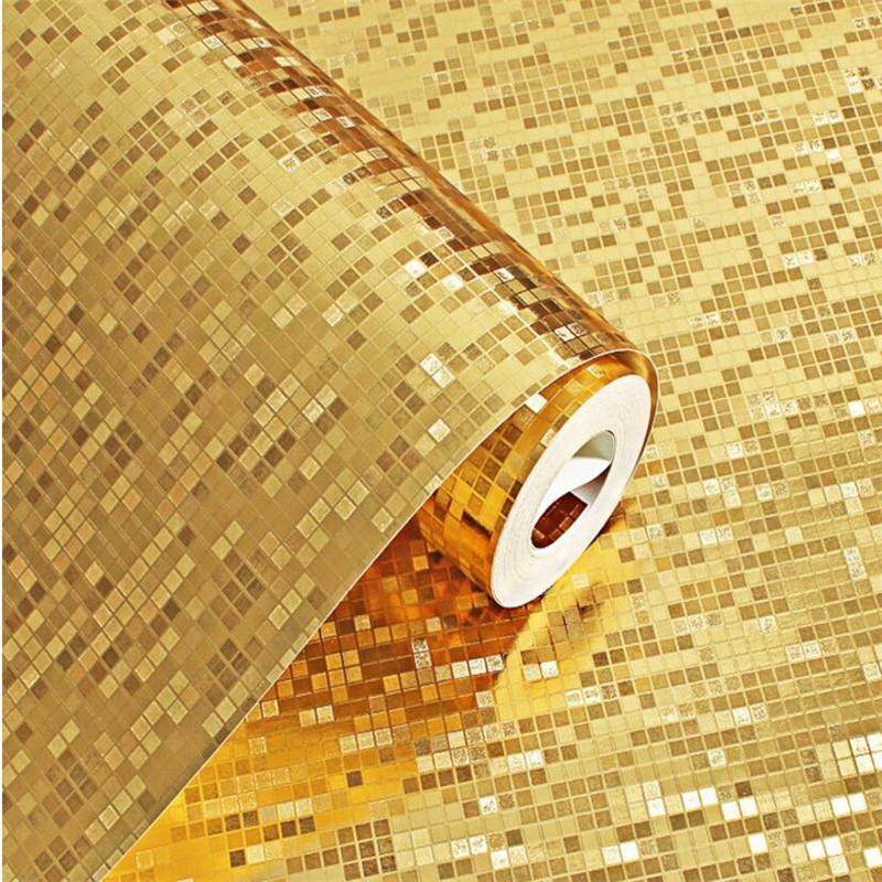 ФОТО Beibehang   3d wallpaper mosaic gold and silver waterproof grid wallpaper living room bedroom KTV  home decoration wallpaper