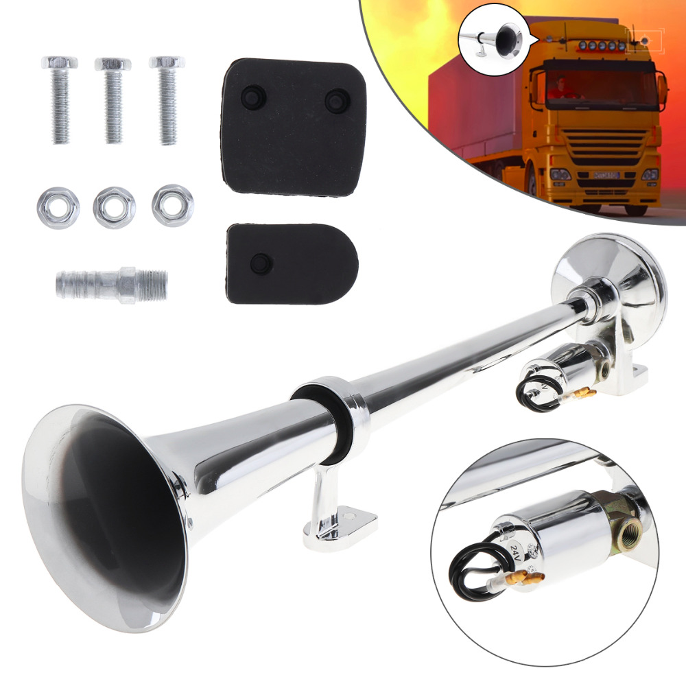 17 Inch 12V / 24V 150dB Super Loud Car Air Operated Horn Single Trumpet for Automobile Truck Boat Train Lorry 12v dual tone trumpet super loud electric pump air horn for car truck train