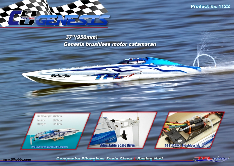 Genesis 1122 Catamaran Fiberglass Racing Boat w Twin Dual 3660 brushless Motors KV2726 Dual 120A Hobbywing