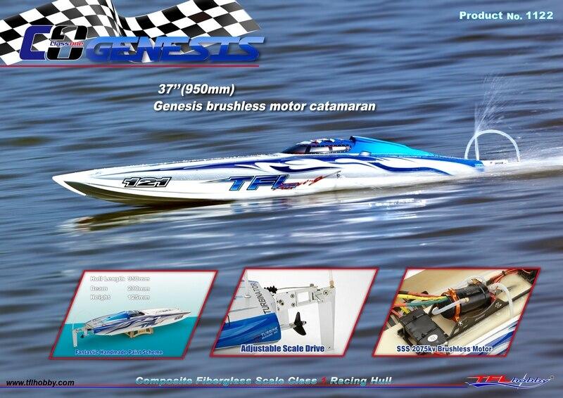Genesis 1122 Katamaran Fiberglas Racing Boot w/Twin Dual 3660 bürstenlose Motoren KV2726, Dual 120A Hobbywing ESC