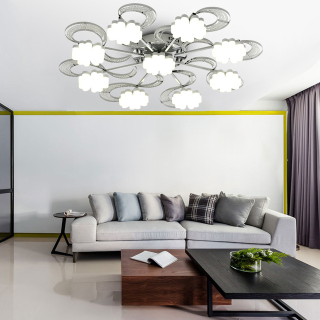 led round crystal living room ceiling lamp European bedroom creative remote control study study lamp led lighting fixture lamps