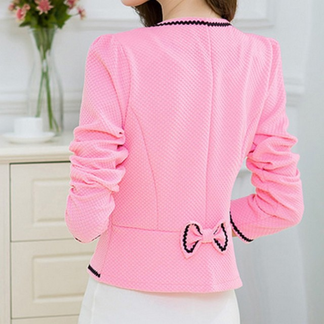 Fashion Hit Color Elegant Women Blazers Round Neck Long Sleeve Formal Jackets S-3XL Casaco Patch Bow Knot Slim Women Blazers 4