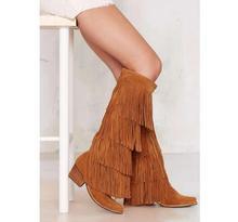 Moda Tacón Grueso Botas Hasta La Rodilla de Las Borlas de Flecos de Gamuza Marrón Con Gradas tacones cuadrados zapatos de tacón alto botas de invierno zapatos de las mujeres