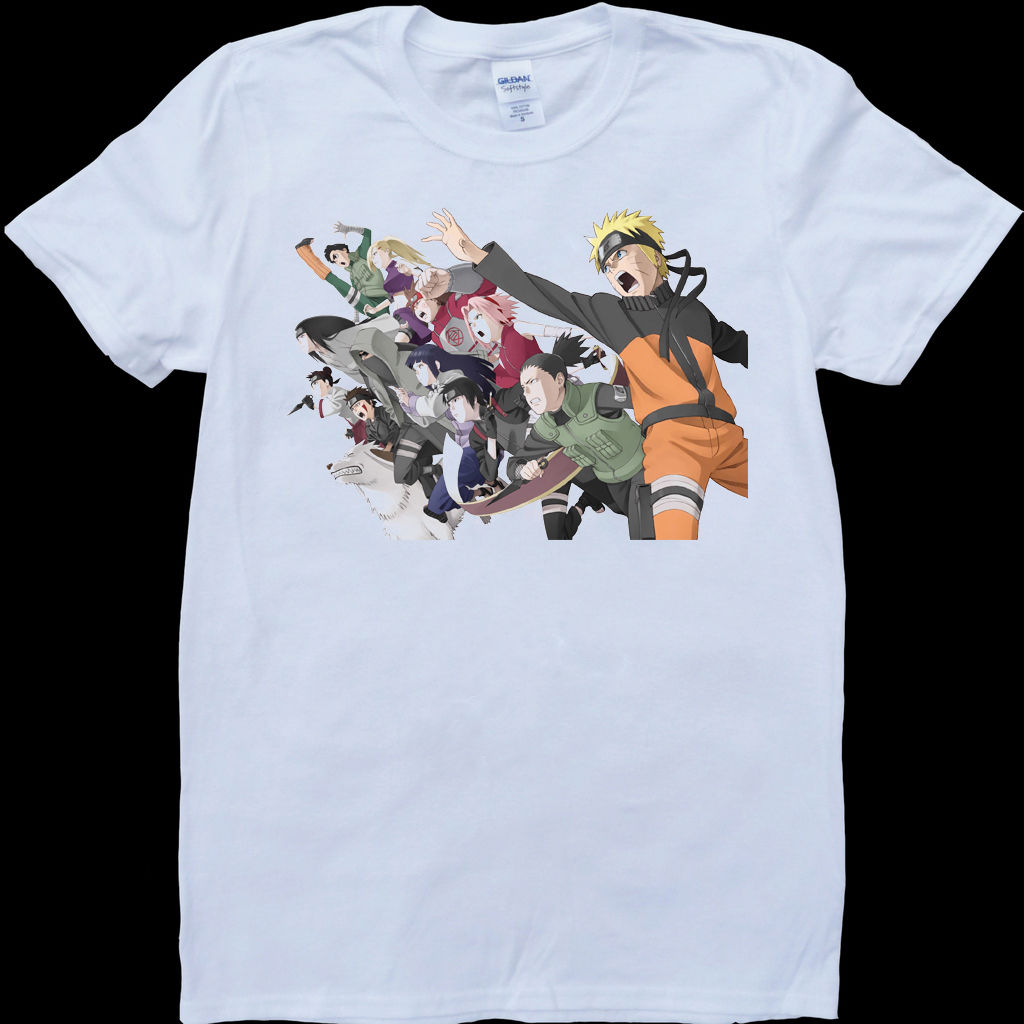 Naruto Characters White, Custom Made T-Shirt