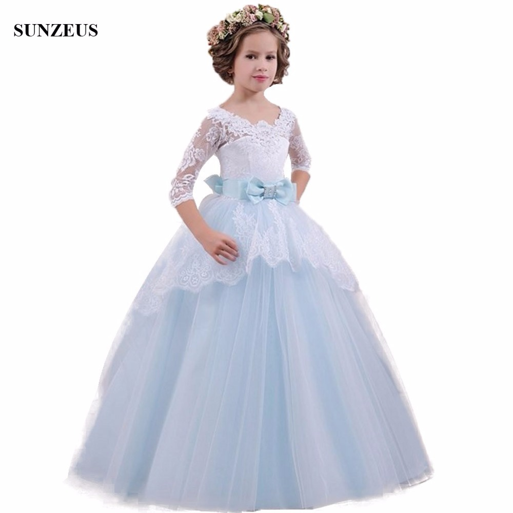 Ivory Blue Colored   Flower     Girl     Dress   Ball Gown Hlaf Sleeves Appliques Children Party   Dress   For Wedding communion   dresses   FLG079
