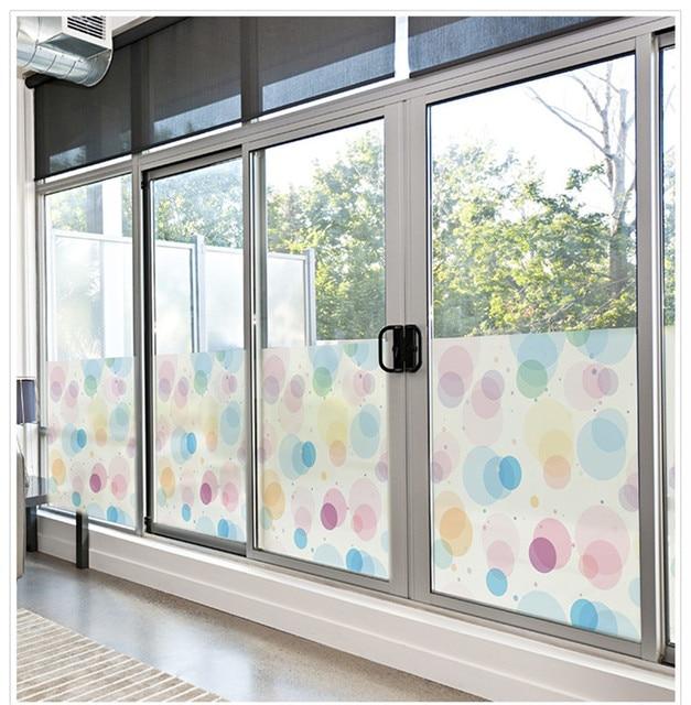Raamstickers Voor Kinderkamer.50x100 Cm Pvc Gekleurde Cirkels Patroon Raamstickers Doorschijnend