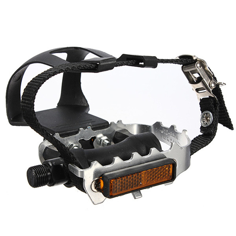 Resin Alloy Non Slip Cycling Fixie Road MTB Mountain Bike Bicycle Pedals + Toe Clips + Straps Black Designed For Road Bike Use