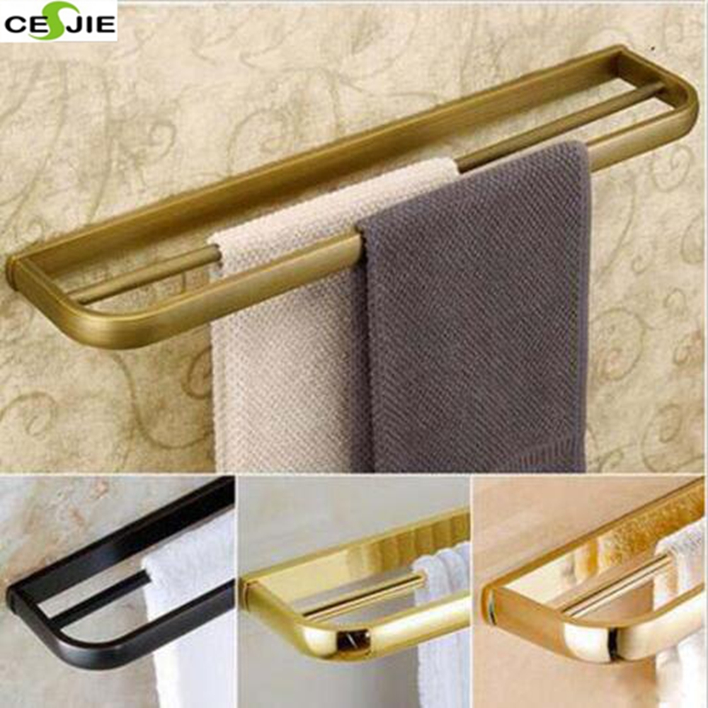 Wall Mounted Towel Rack Holder Brass Double Pole Towel Bar Bathroom Accessories aluminum wall mounted square antique brass bath towel rack active bathroom towel holder double towel shelf bathroom accessories