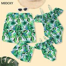 Family Swimwear Mother Daughter Matching Women Kid One Piece Palm Tree Swimsuit Men Boys Print Short Pants Bathing Suit E072 plus palm print bardot swimsuit