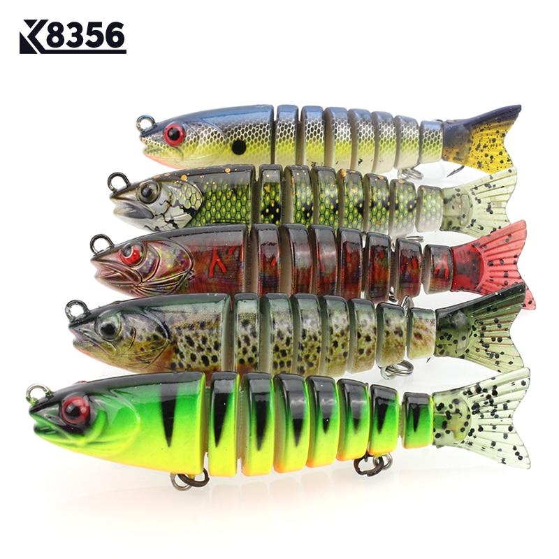 K8356 Plastic Fishing Lure Wobblers 8-segement Artificial Pike Bait 10.5cm 17G 3D Eyes 5Color Triple Anchor Hook 6# Pesca Cebo