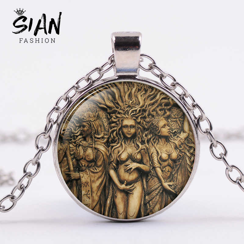 SIAN Vintage Statue of Triple Moon Goddess Necklace Tree of Life Wicca Pentagram Magic Amulet Pendant Necklace Women Gift Choker