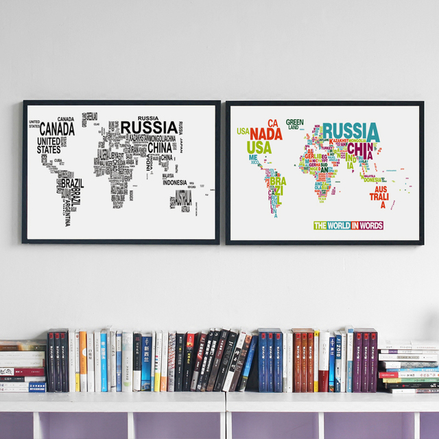 07g black and white english world map a4 a3 a2 canvas art painting 07g black and white english world map a4 a3 a2 canvas art painting print poster picture gumiabroncs Gallery