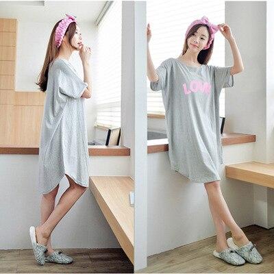 cotton nightgown sexy summer short sleeve cute casual sleepwear dress  Nightdress t shirt 3d709bd91