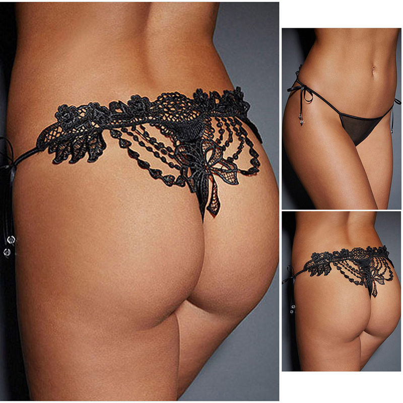 Sexy Women Lace Panties Brief Bikini Knickers Lingerie Thongs G-string Underwear Women's Sexy Lace Bow-Knots Lingerie Underwear