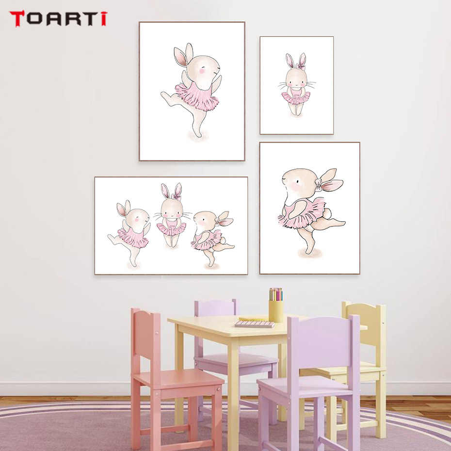 Nordic Style Pink Rabbit  Canvas Art Painting Wall Art Prints And Poster Kids Decoration Wall Pictures For Baby Room Home Decor