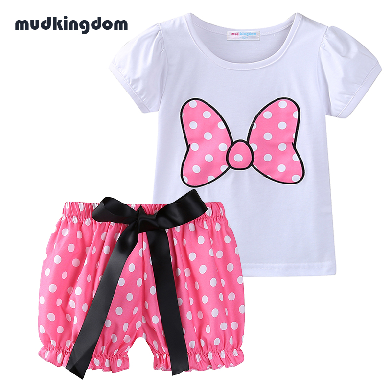Mudkingdom Baby Girls Minnie Clothing Sets Kids Toddler Girl Summer Clothing Boutique Outfits Polka Dot Shorts for Thanksgiving