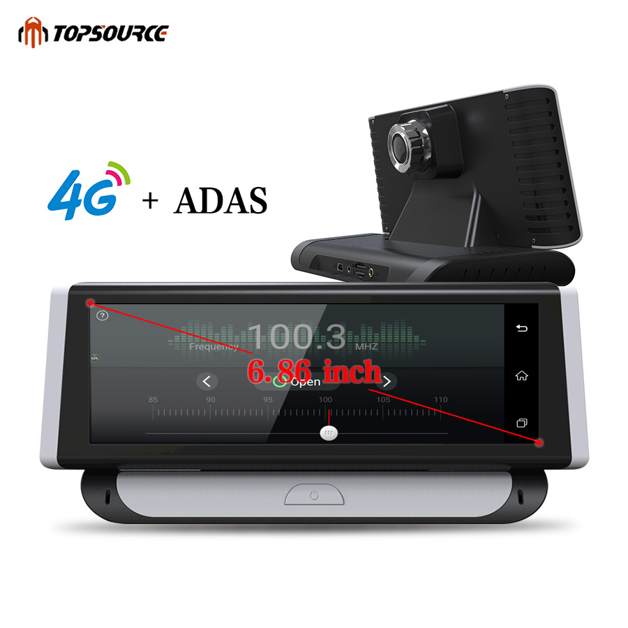 Topsource Автомобильный видеорегистратор Full HD 1080 P dvr 6,86 Android 5,1 видеорегистратор 4G ADAS двойной объектив Bluetooth Камера gps навигация 1 ГБ ram