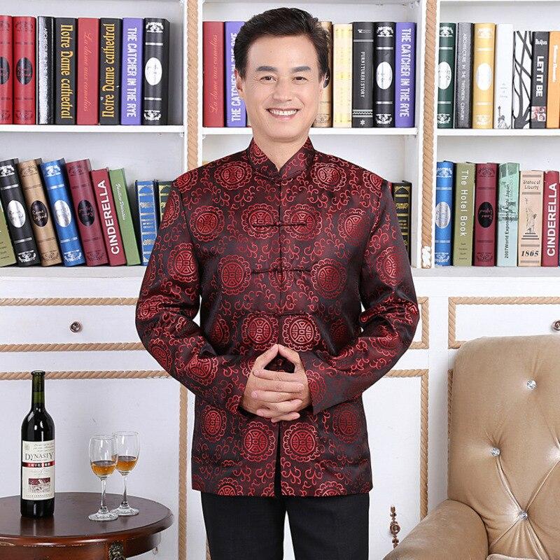 Actief Liefhebbers Jurk Longevity Traditionele Mens Chinese Kleding Mannen Cheongsam Shirt Kung Fu Jas Patroon Tang Pak Hanfu Hommes Handig Om Te Koken