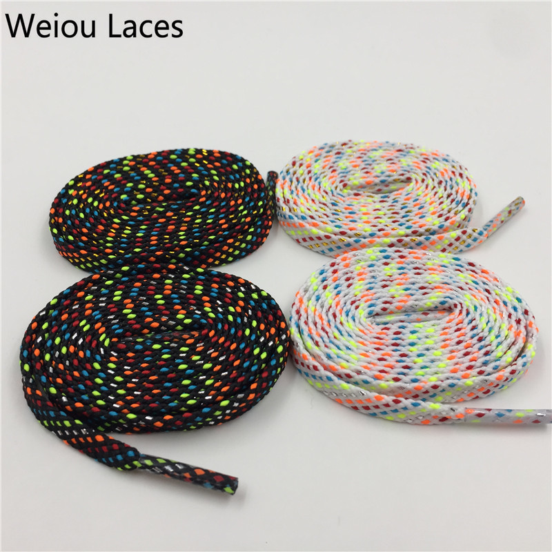 Official Weiou New Fashion Flat Glitter Shiny Gold Silver Bootlaces Metallic Yarn Striped Shoe Laces Cool For Dress Shoelaces Shoes